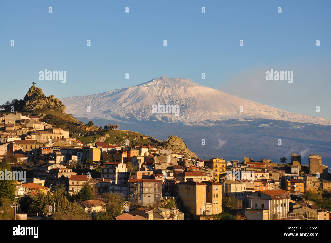 Etna view from Cesarò,  sunset, Messina, Sicily, Italy, Europe - Stock Image