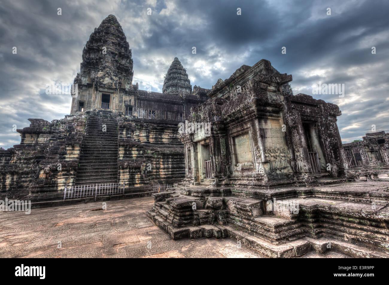 High dynamic range (hdr) image of Angkor Wat - famous Cambodian landmark Siem Reap, Cambodia Stock Photo