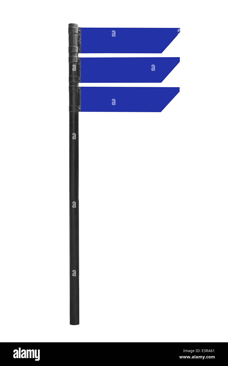 Blank road sign isolated on white with clipping path - Stock Image