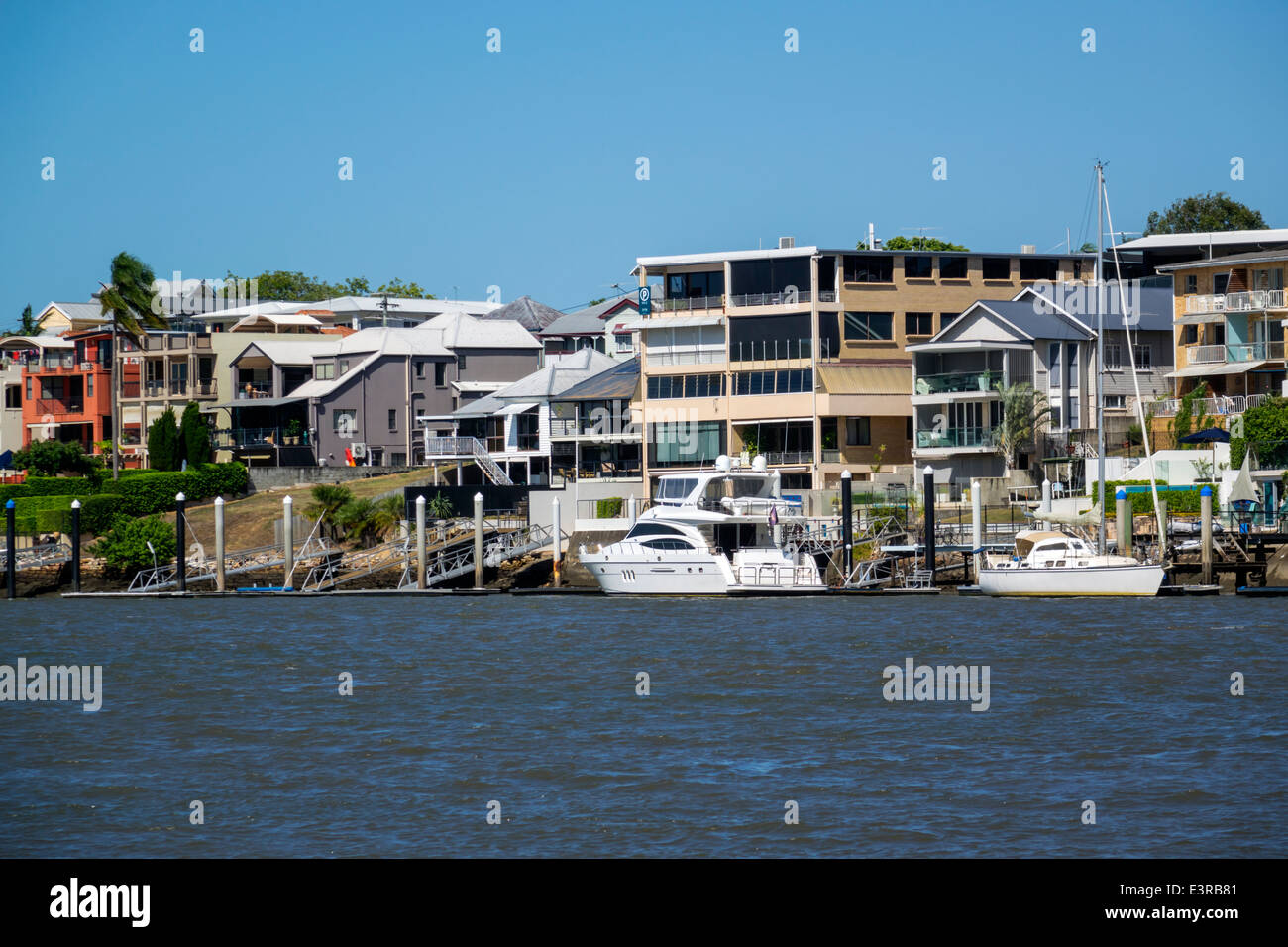 Brisbane Australia Queensland Brisbane River New Farm waterfront residences homes apartments - Stock Image