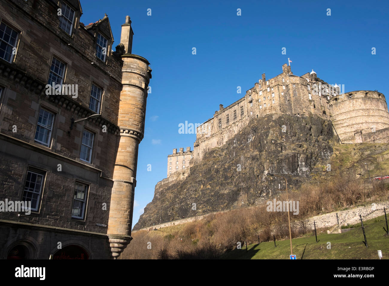 The view of the Edinburgh's castle from the Grassmarket square - Stock Image