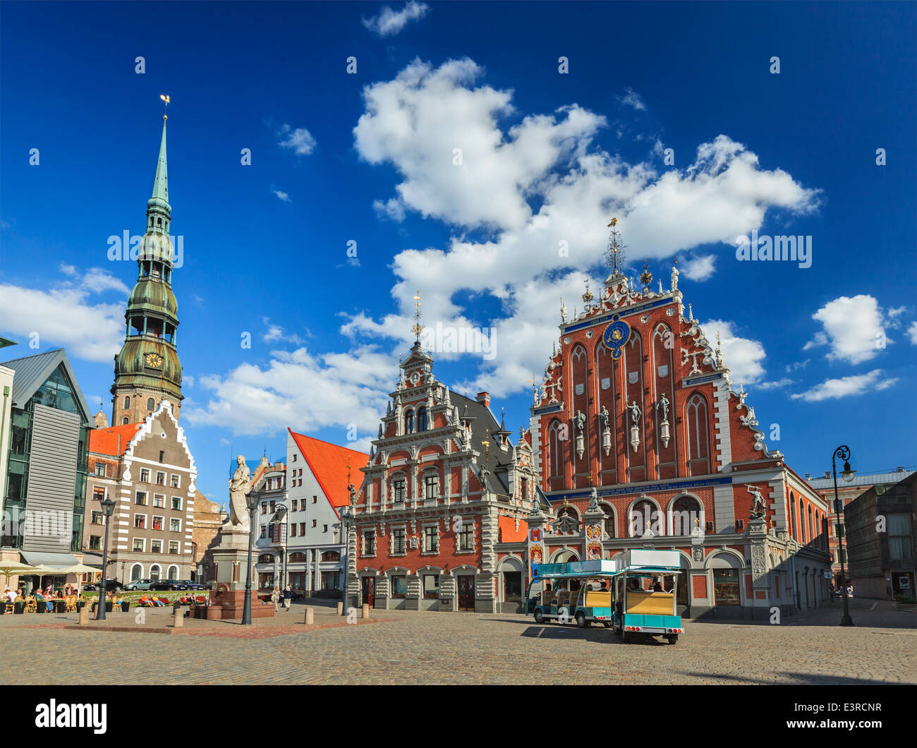 Riga Town Hall Square, House of the Blackheads and St. Peter's Church, Riga, Latvia - Stock Image