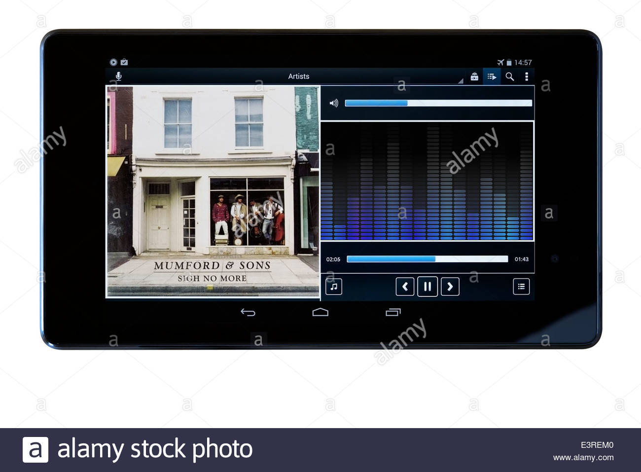 Mumford & Sons, Sigh No More, MP3 album art on PC tablet, England - Stock Image