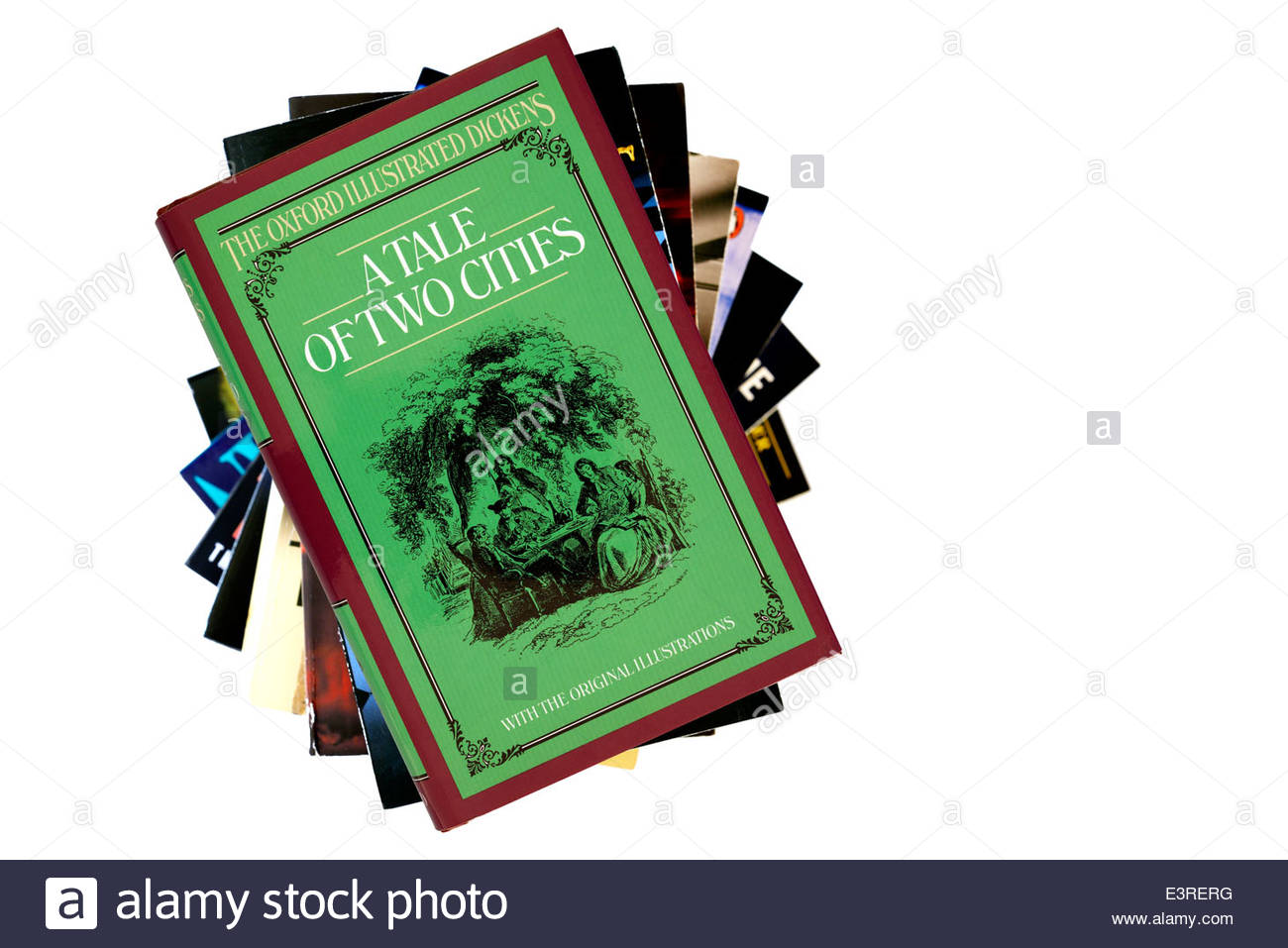 Charles Dickens novels, A Tale of Two Cities, book title, stacked used books, England - Stock Image