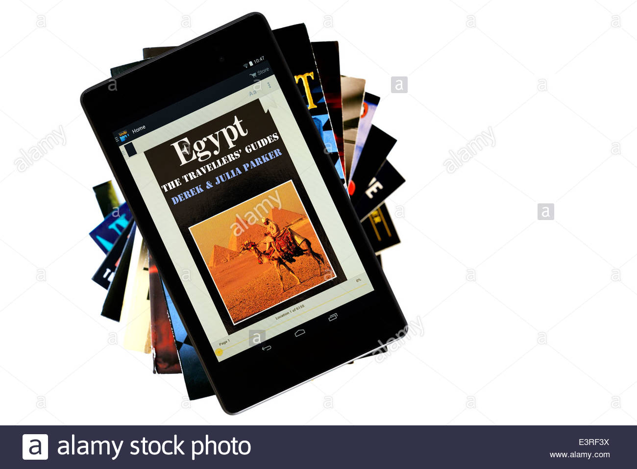 Old travel guide to Egypt, digital book cover on PC tablet, England - Stock Image