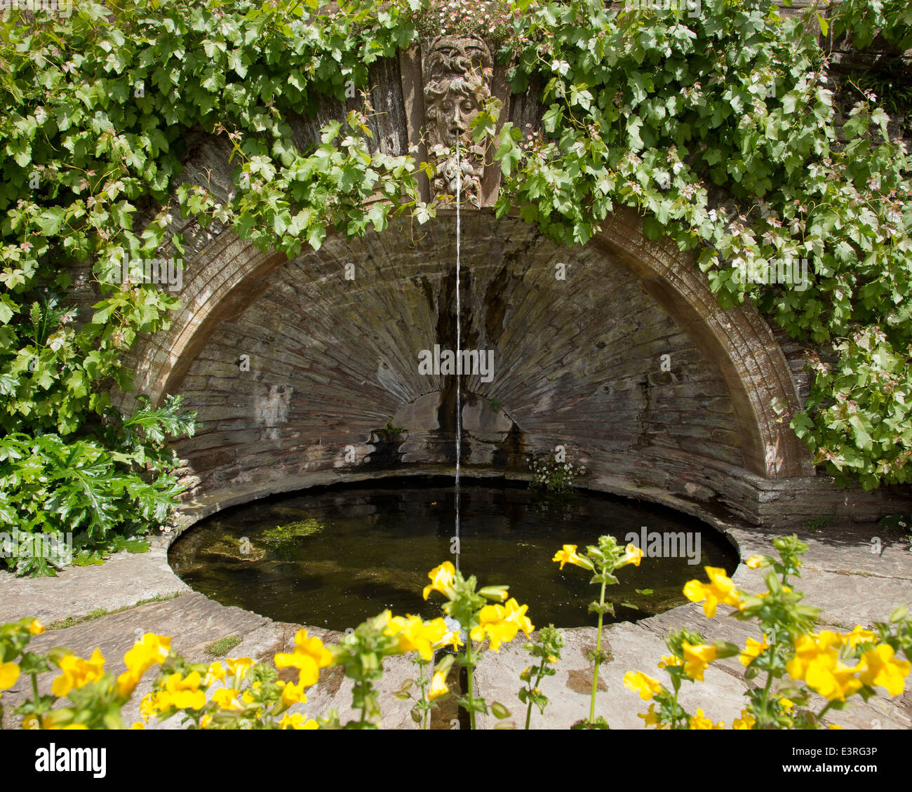 Fountain head in formal garden of Hestercombe House, Somerset. - Stock Image