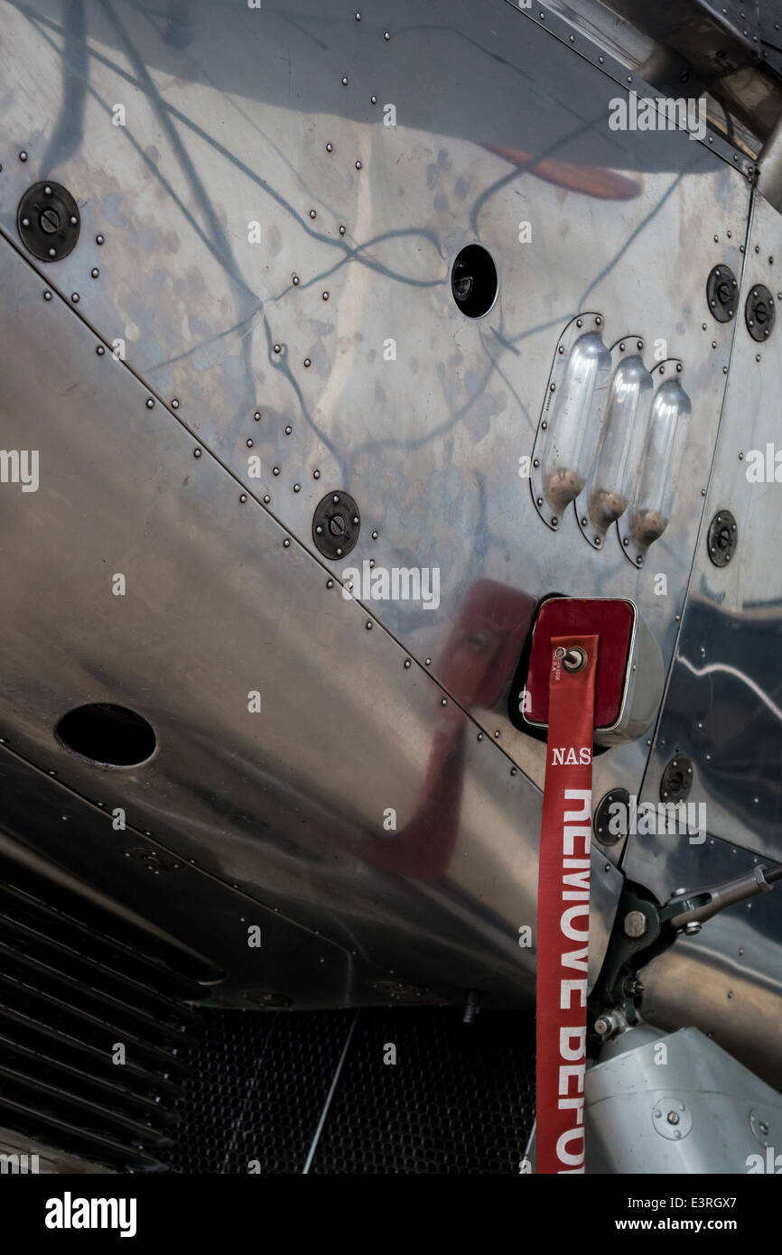 Detail of an aircraft fuselage on display at Shuttleworth Aerodrome, UK - Stock Image