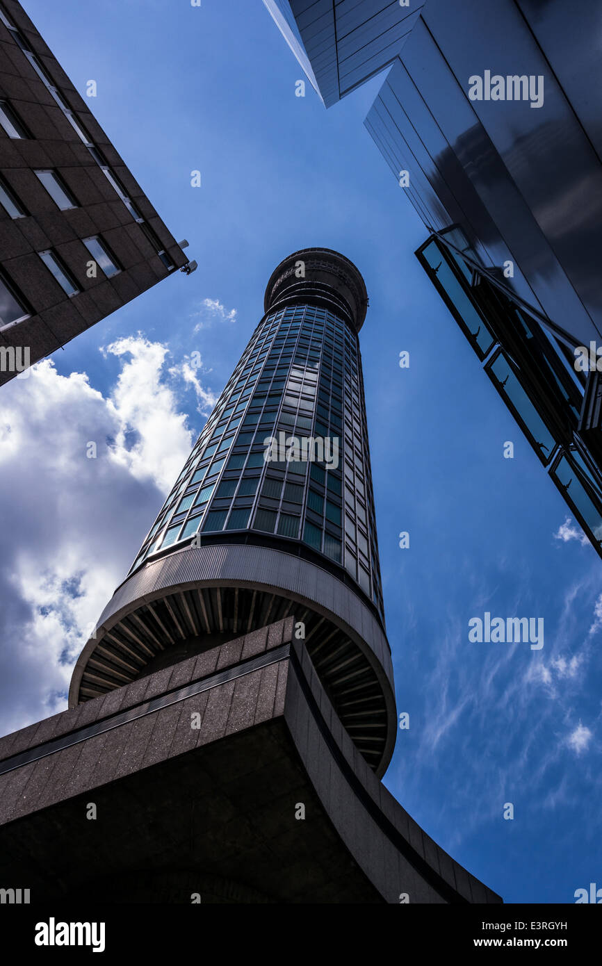 BT Tower and base from Cleveland Mews, London, UK Stock Photo
