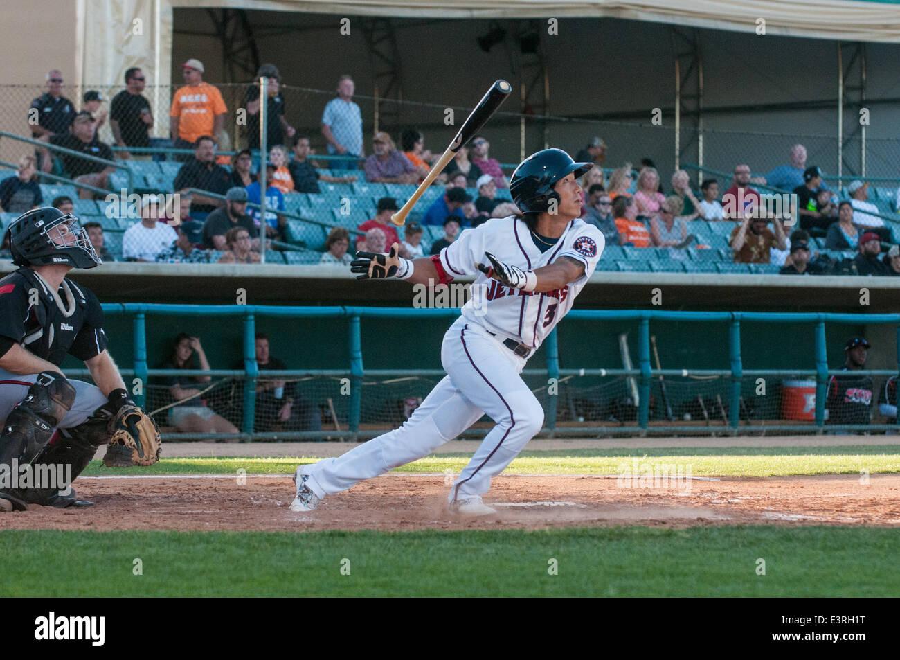 Lancaster, California, USA. 27 June 2014, Lancaster Municipal Stadium, Lancaster, CA. Houston Astros prospect, Chan Stock Photo