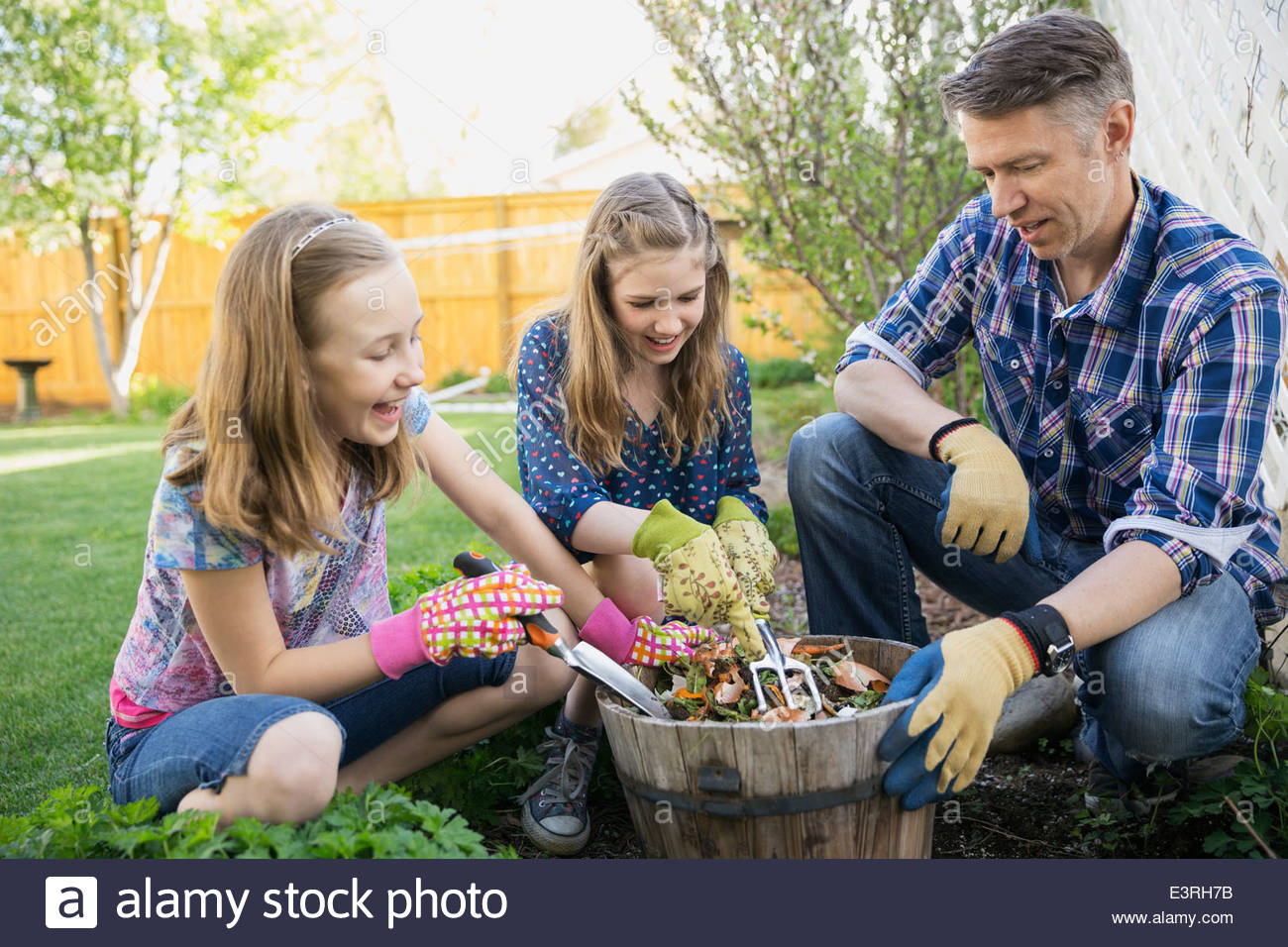 Father and daughters planting flowers in garden - Stock Image