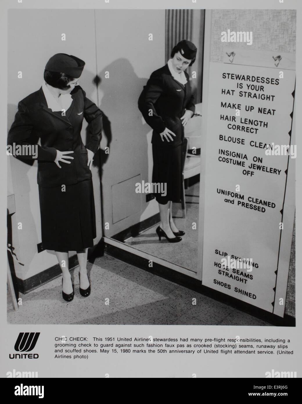 Pre-flight Stewardess responsibilities - Stock Image