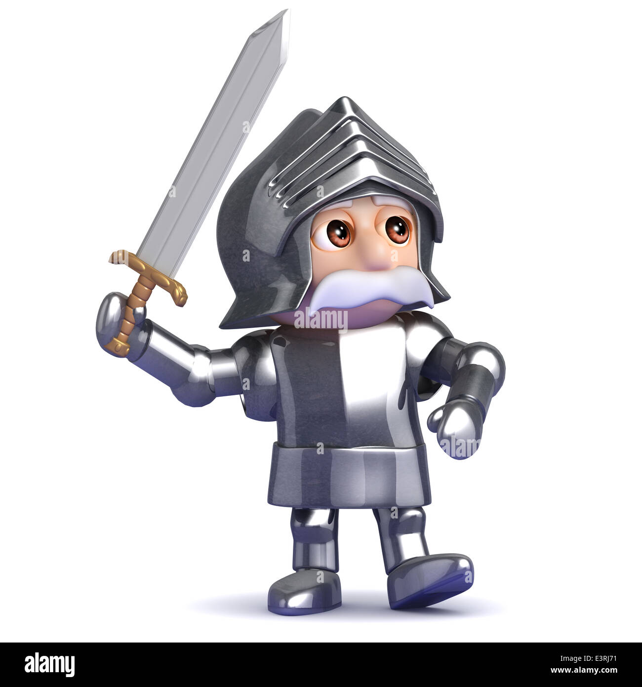 3d Knight swings his mighty sword of righteousness - Stock Image