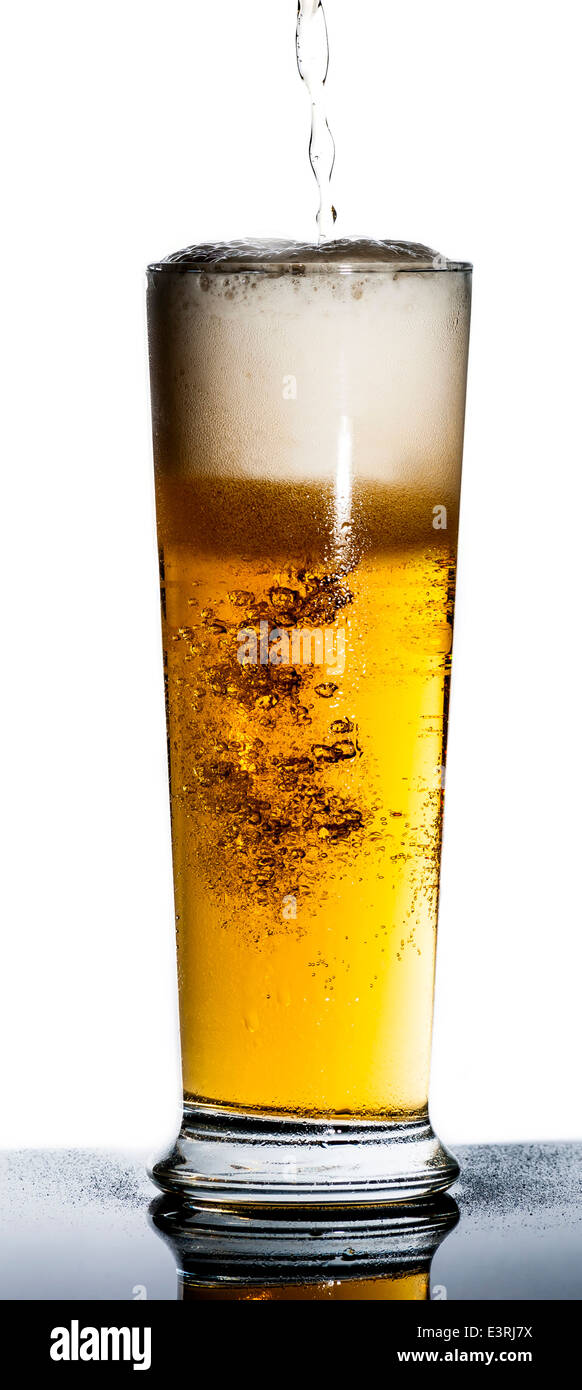 draught or draft beer on black reflect background with water drop on bottle - Stock Image