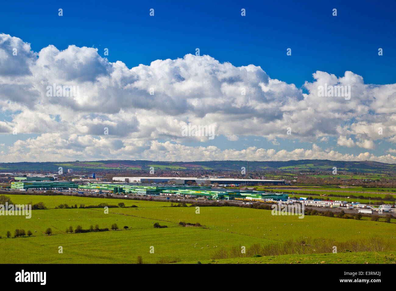 Morrison's distribution warehouse in Bridgwater, Somerset, England - camouflaged to make it blend in with its - Stock Image