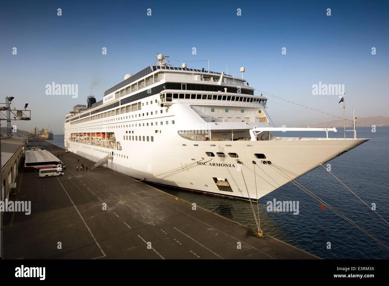 Jordan, Aqaba Port, MSC Cruise ship Armonia, moored in the dock Stock Photo