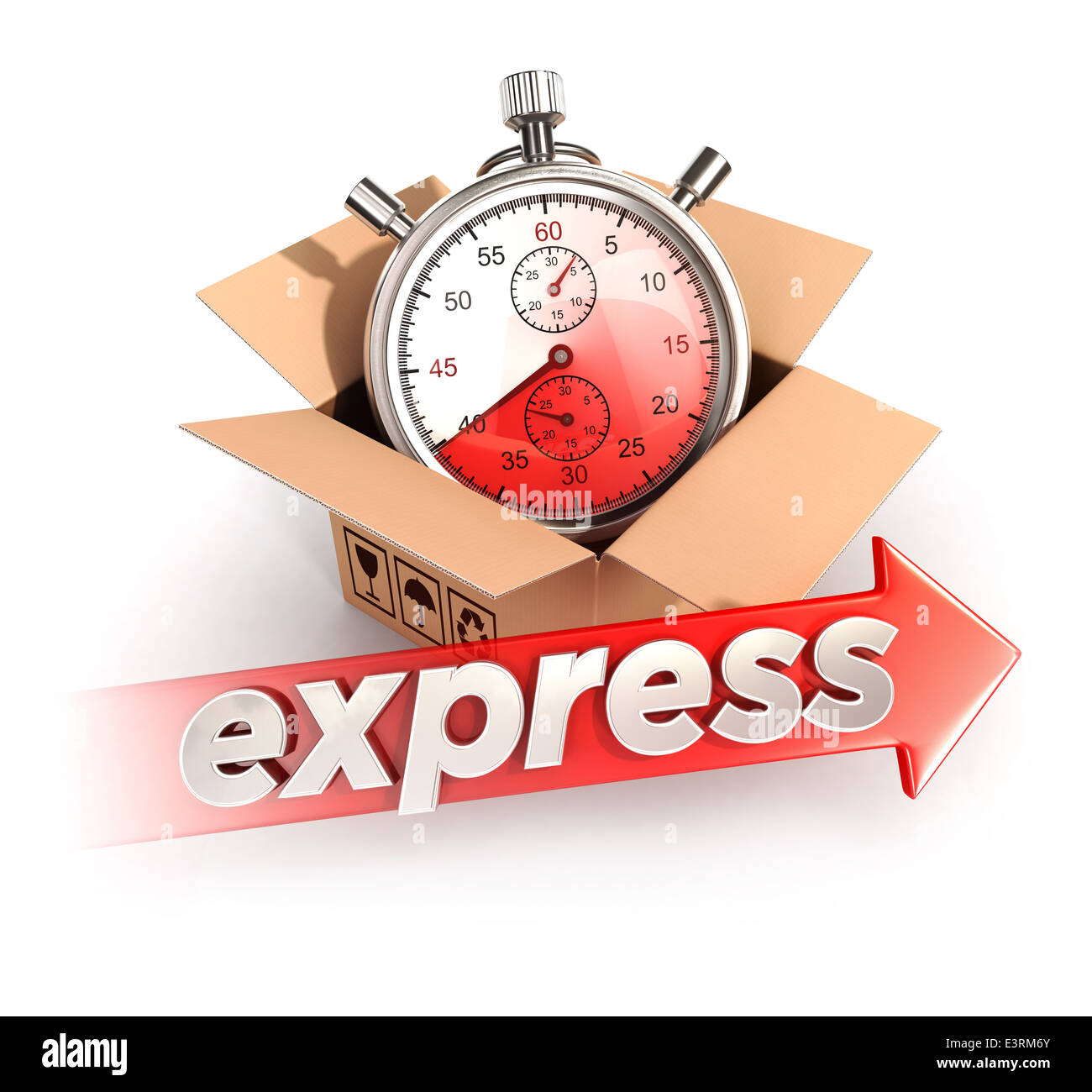 3d express delivery concept, isolated white background, 3d image Stock Photo