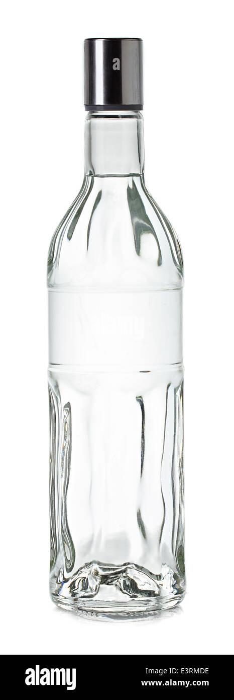 Bottle of vodka close up on white background - Stock Image