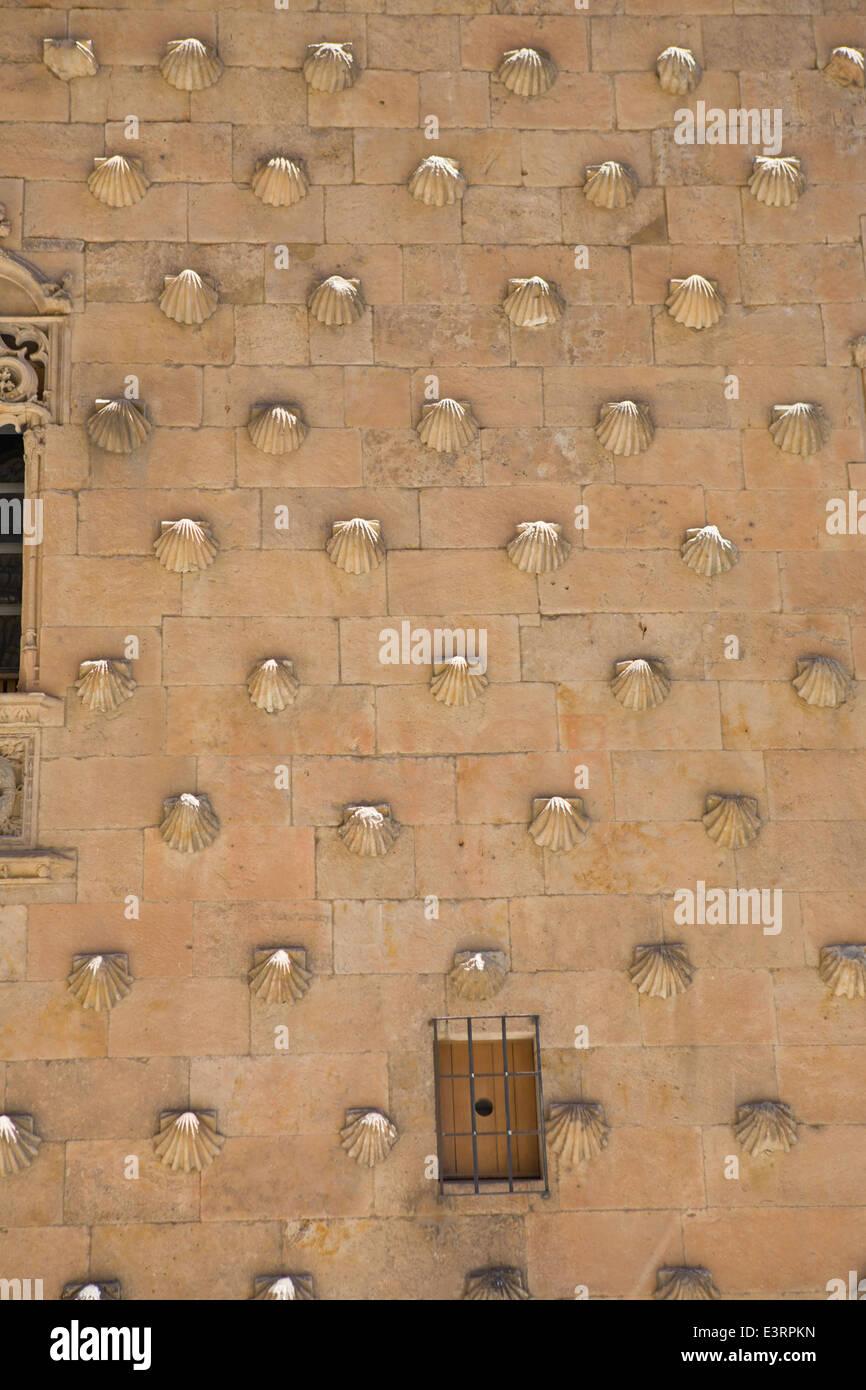 Detail of the facade of Casa de las Conchas. Salamanca. Spain - Stock Image