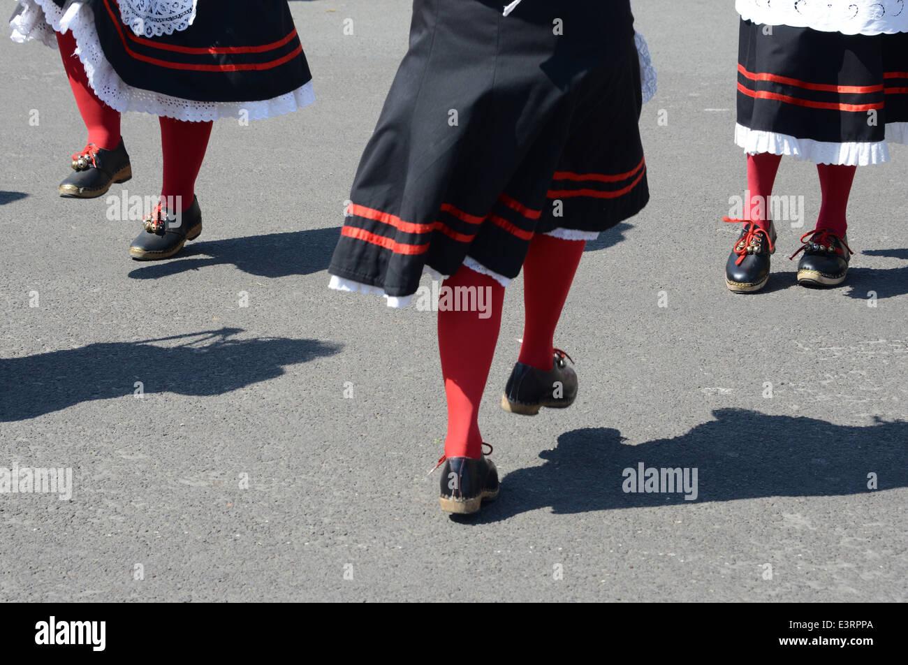 Legs of women Morris dancers - Stock Image