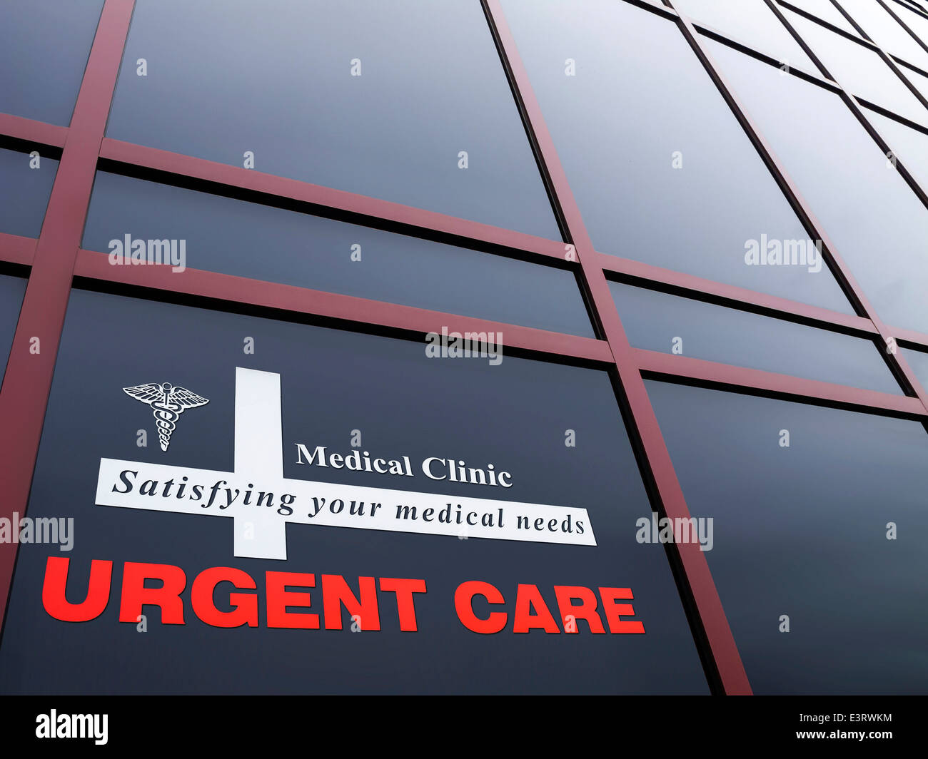 Urgent care building and sign. Were Medical care is given - Stock Image