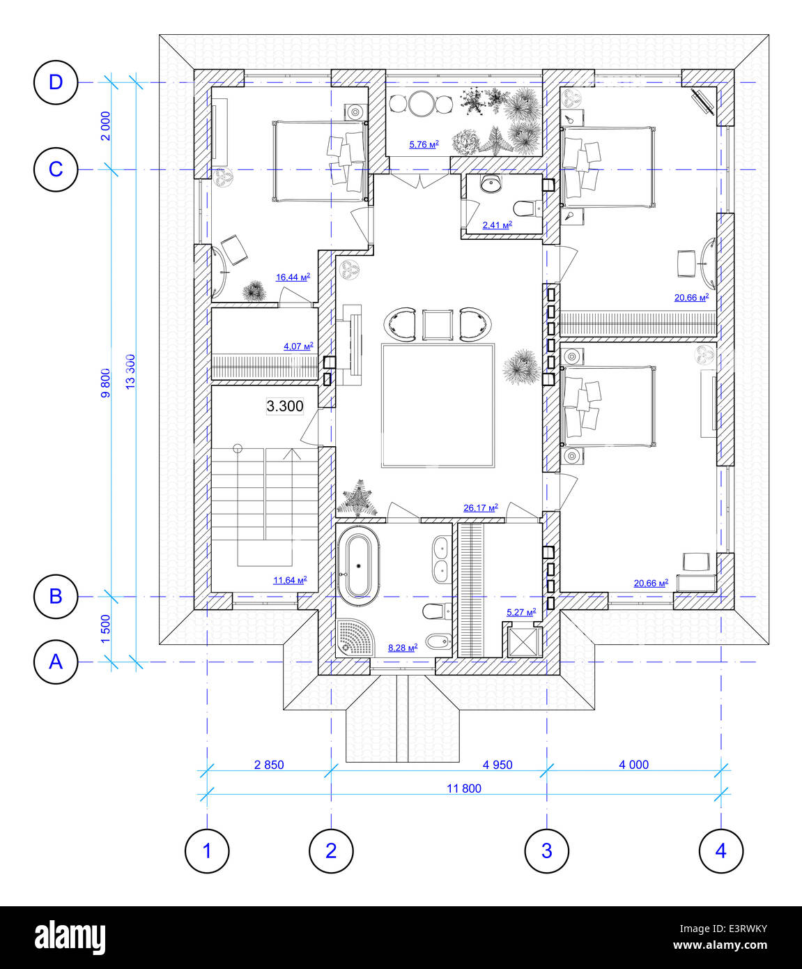 Build house draw blueprint stock photos build house draw blueprint architectural blueprint of second floor of house stock image malvernweather Choice Image