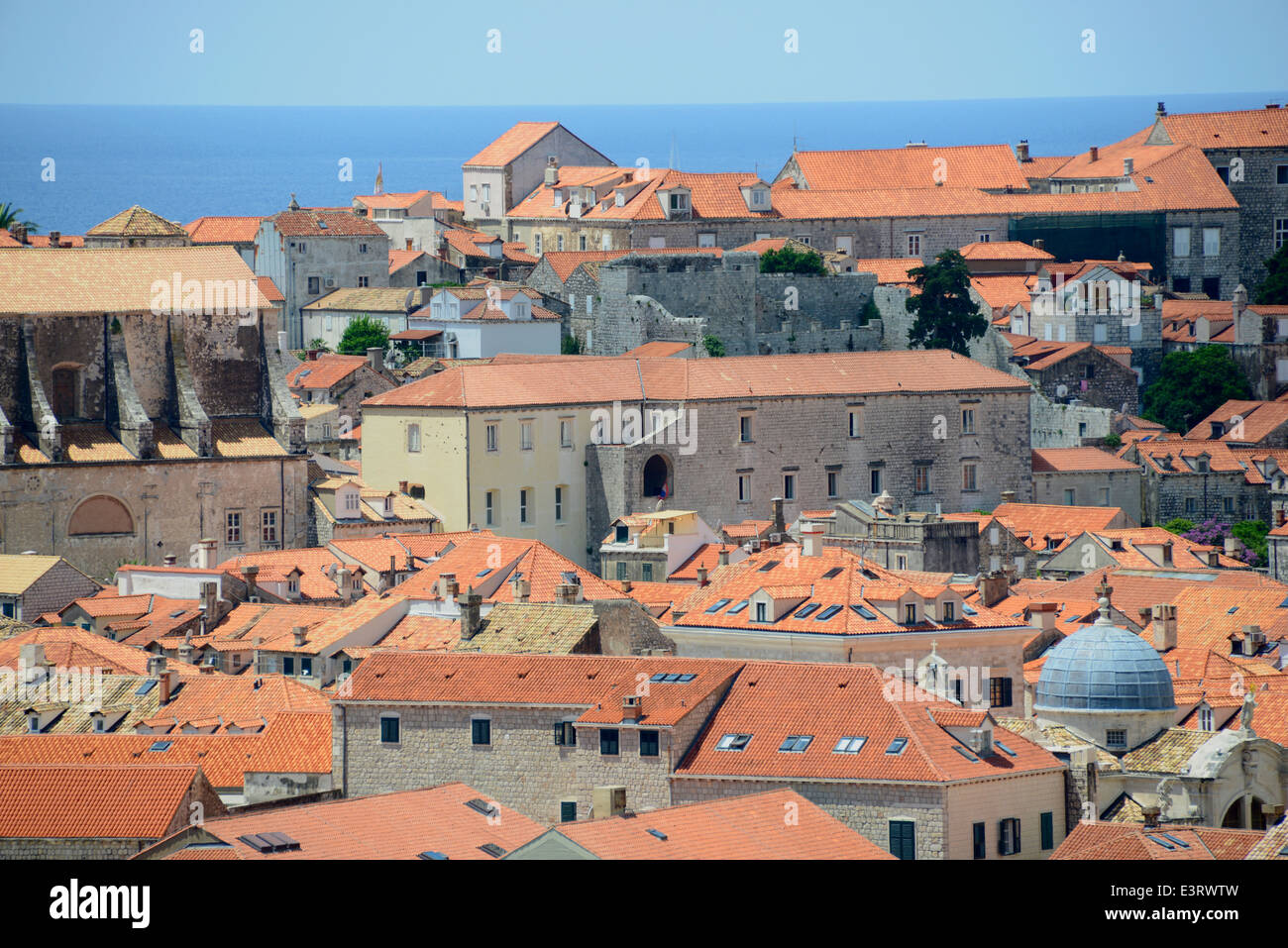 Dubrovnik city rooftops, Croatia Stock Photo