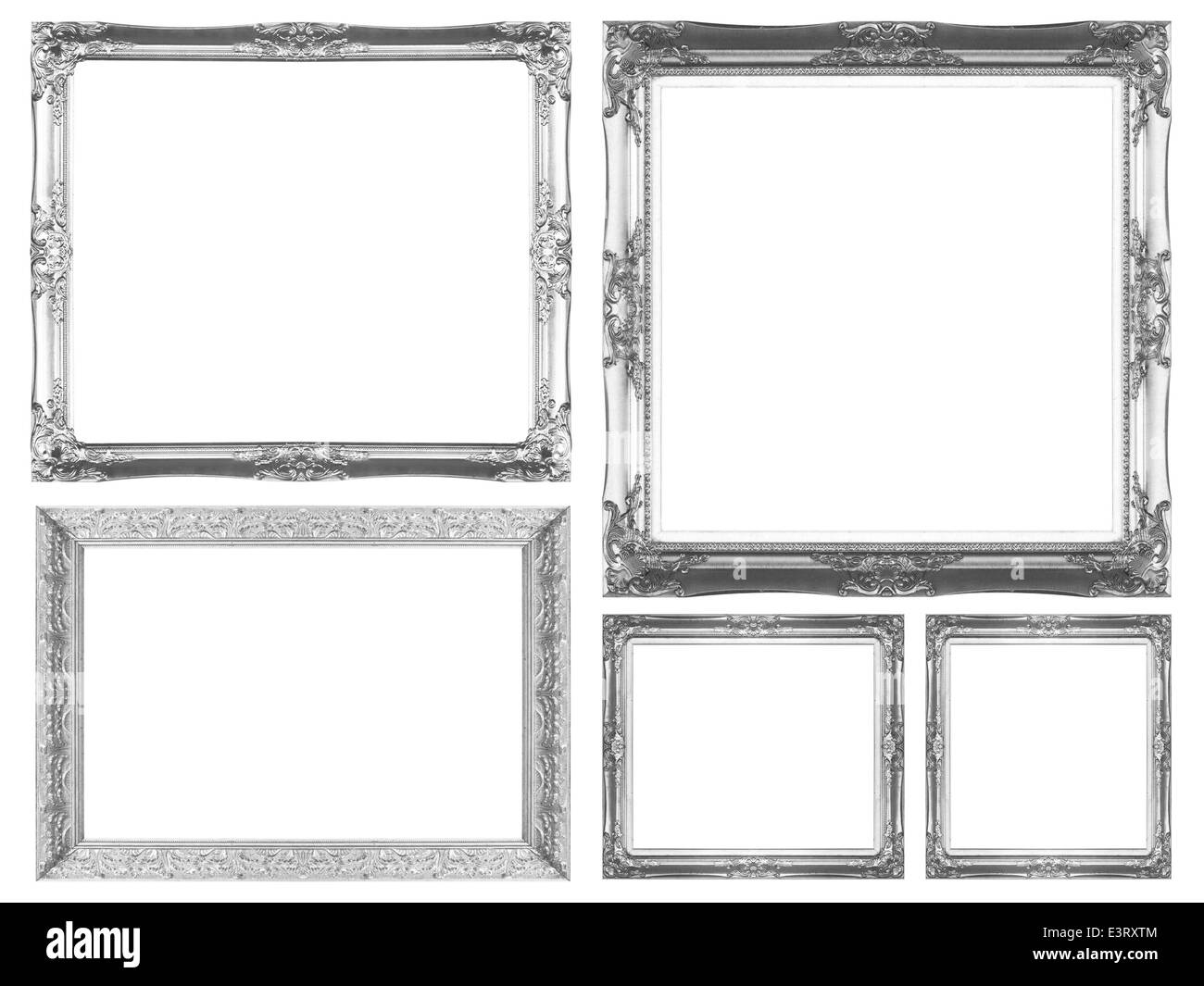 Silver picture frame isolated on white background. - Stock Image