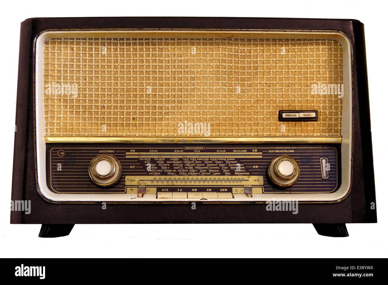Vintage radio isolated on a white background Stock Photo