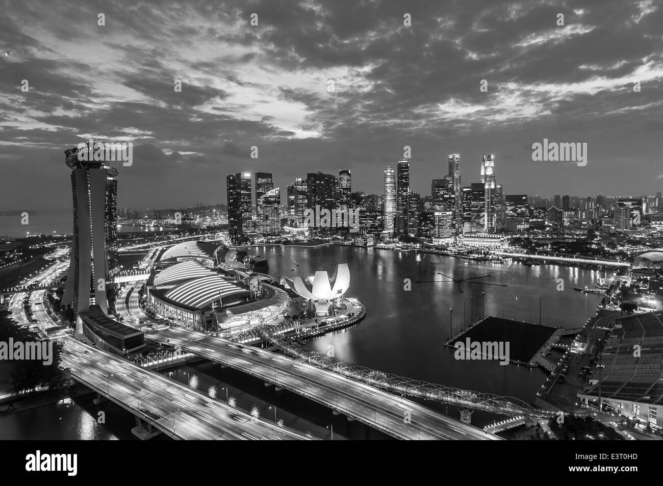 The singapore skyline in the evening stock image