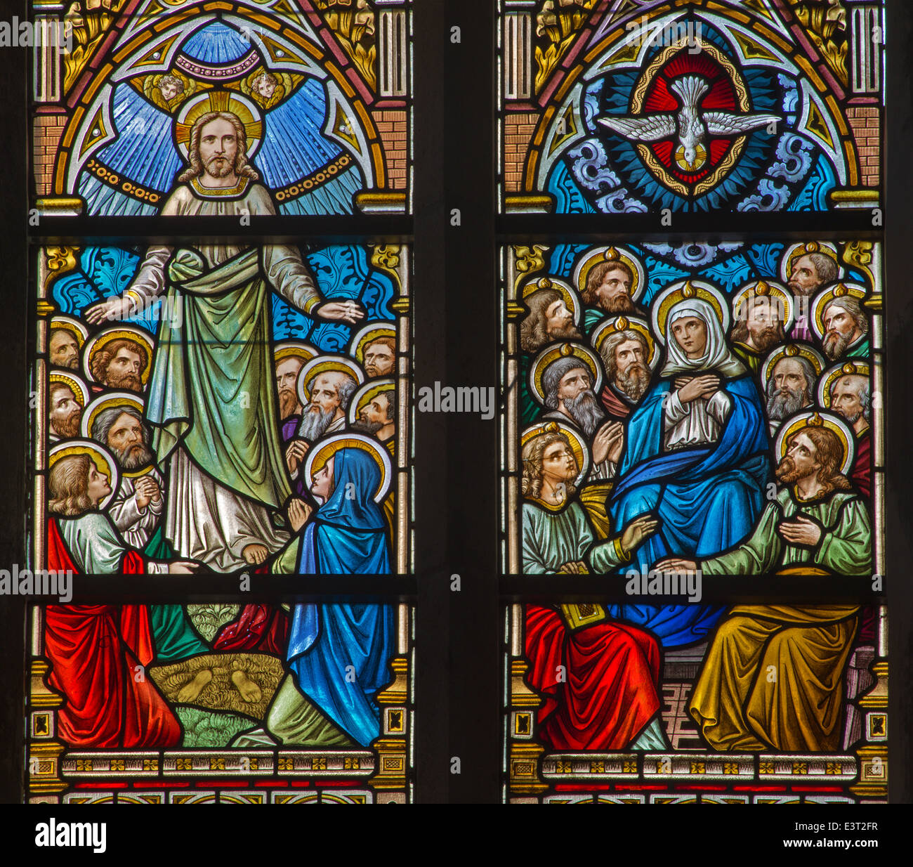 BRUGGE, BELGIUM - JUNE 12, 2014: The Ascension of Jesus and Pentecost scene on the windwopane in st. Jacobs church - Stock Image