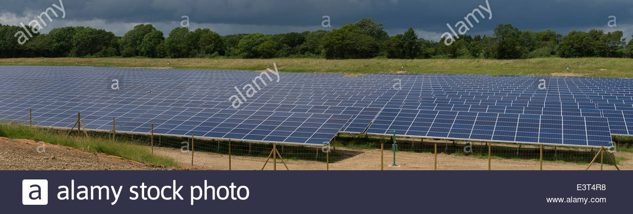 Solar Panels in Field West Sussex England UK - Stock Image
