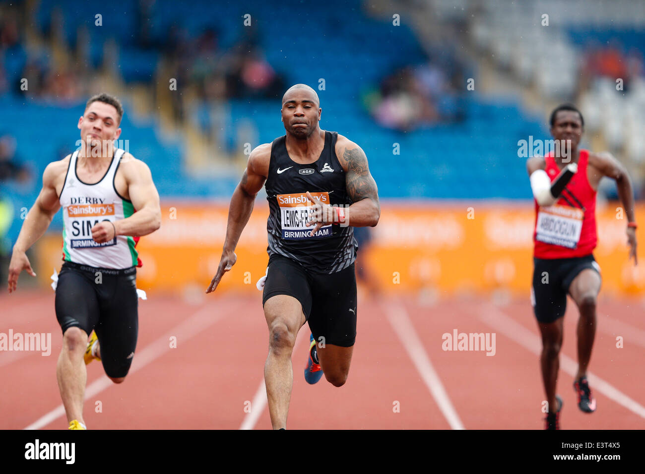 Birmingham, UK. 28th June, 2014. Mark LEWIS-FRANCIS (Birchfield) in action in the heats for the Men's 100m during - Stock Image