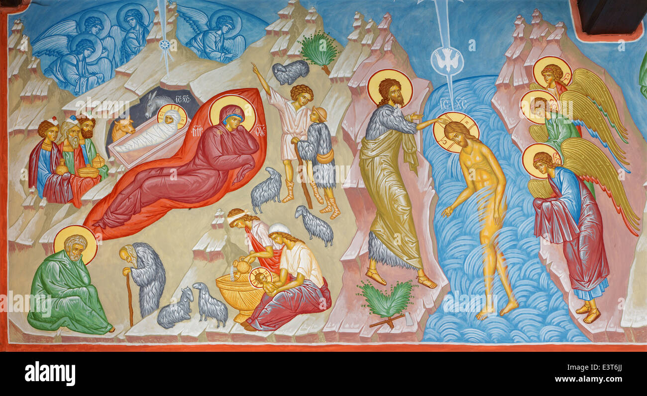 Bruges - Fresco of the Nativity scene and Baptism of Christ scene in st. Constanstine and Helena orthodx church - Stock Image