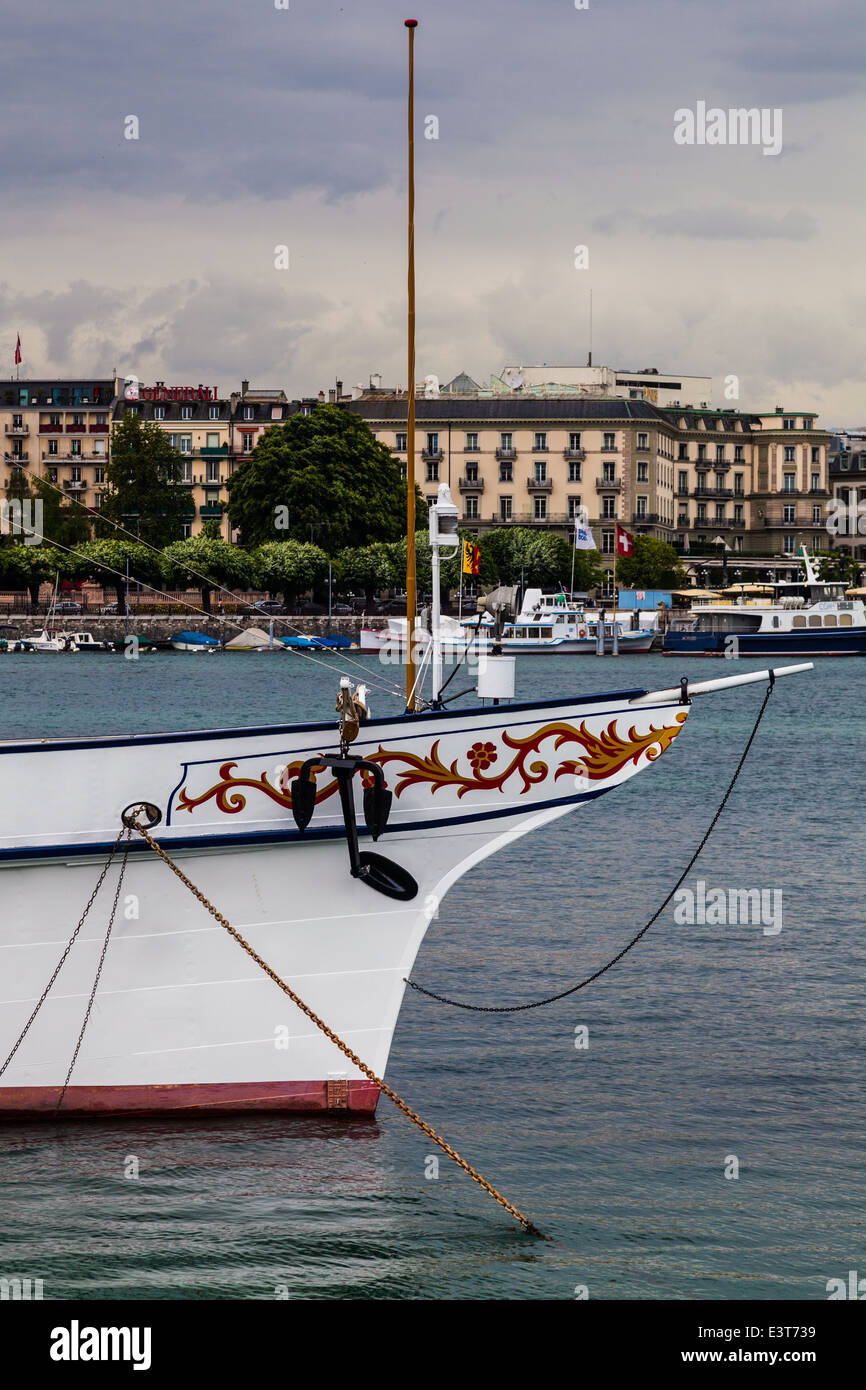Bow of an anchored Swiss lake steamer in Geneva - Stock Image