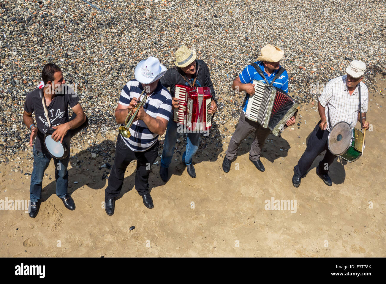 Musicians Buskers Playing Street Entertainers South Bank London - Stock Image