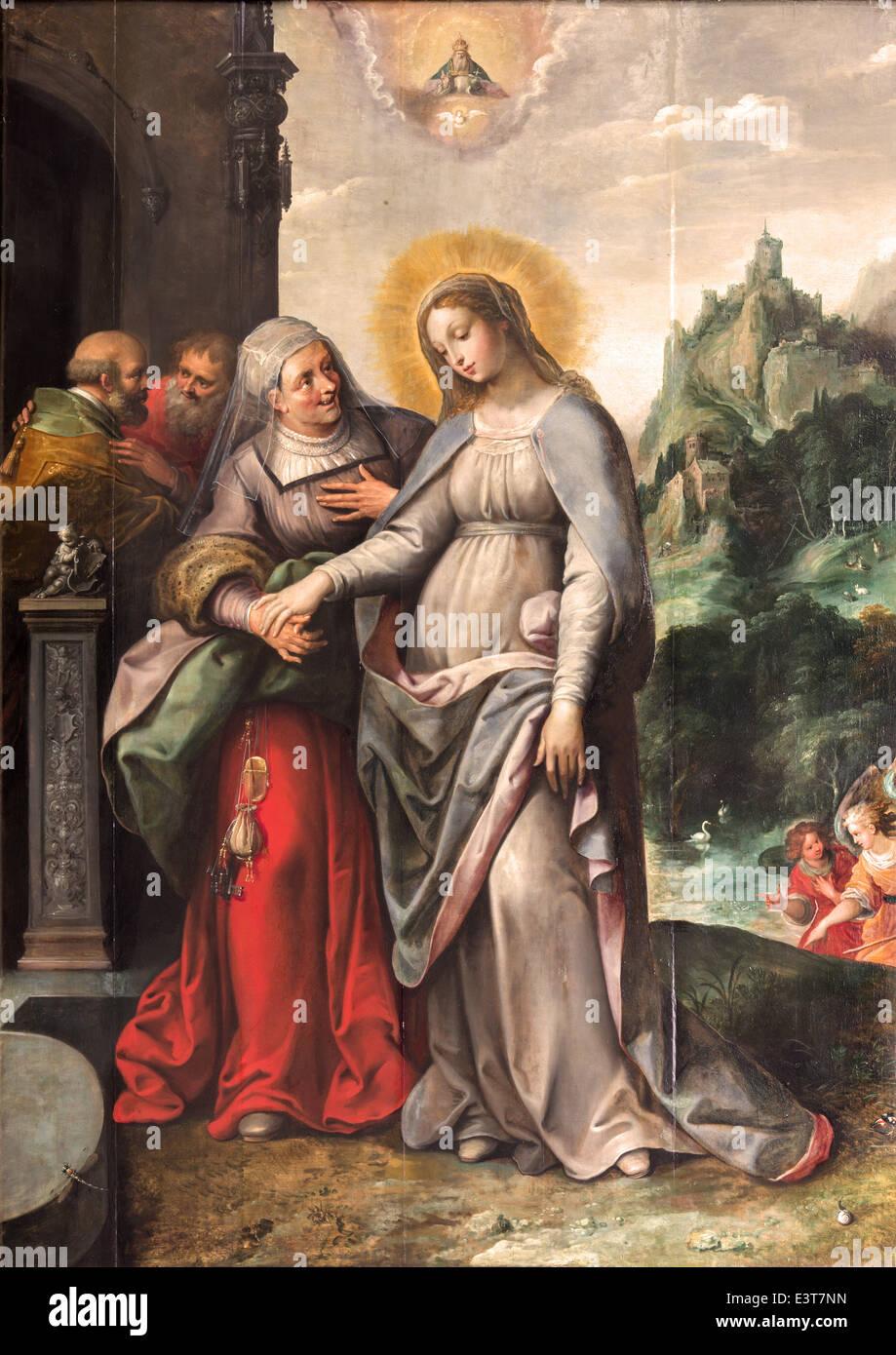 Antwerp - The Visitation of Virgin Mary to Elizabeth by Frans Francken (1581 - 1642) in Saint Pauls church (Paulskerk) Stock Photo