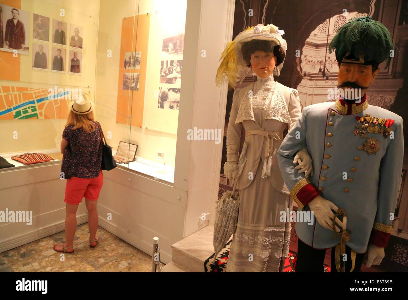 Sarajevo 28th June 1914 A Tourist Watches Exhibits In The