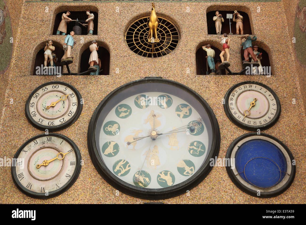 Astronomical clock in Olomouc, Czech Republic. - Stock Image