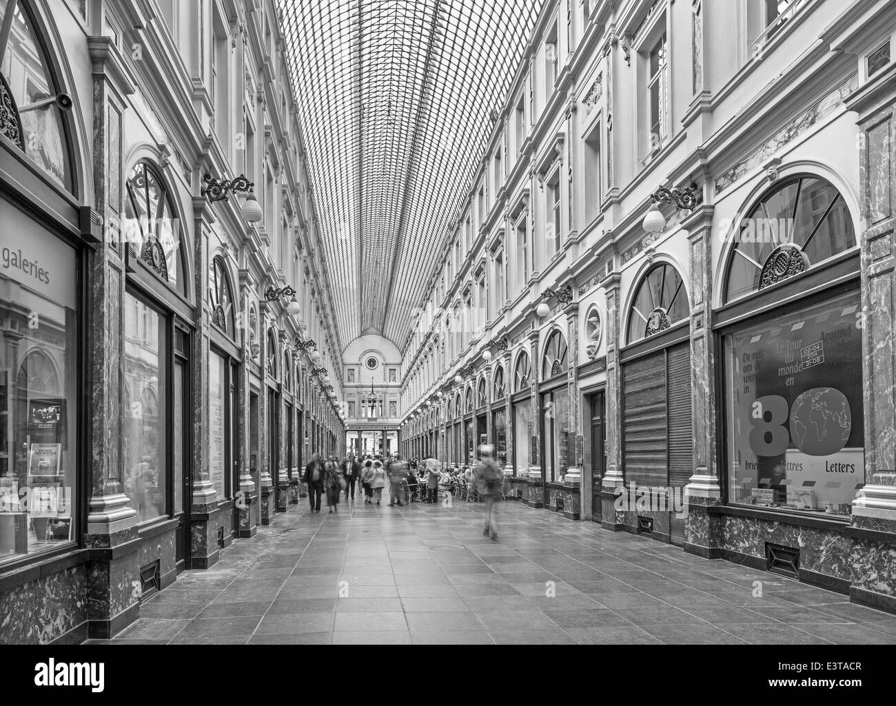 BRUSSELS, BELGIUM - JUNE 16, 2014: Royal Galeries of st. Hubert. The galleries was opened in year 1846. - Stock Image