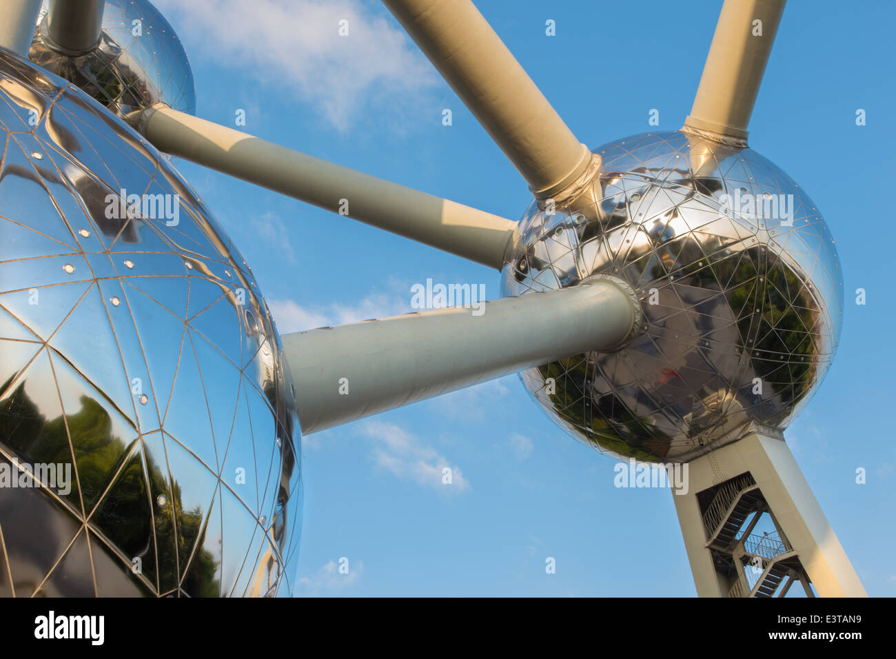 BRUSSELS, BELGIUM - JUNE 16, 2014: Detail of Atomium. Modern building was originally constructed for Expo '58 - Stock Image