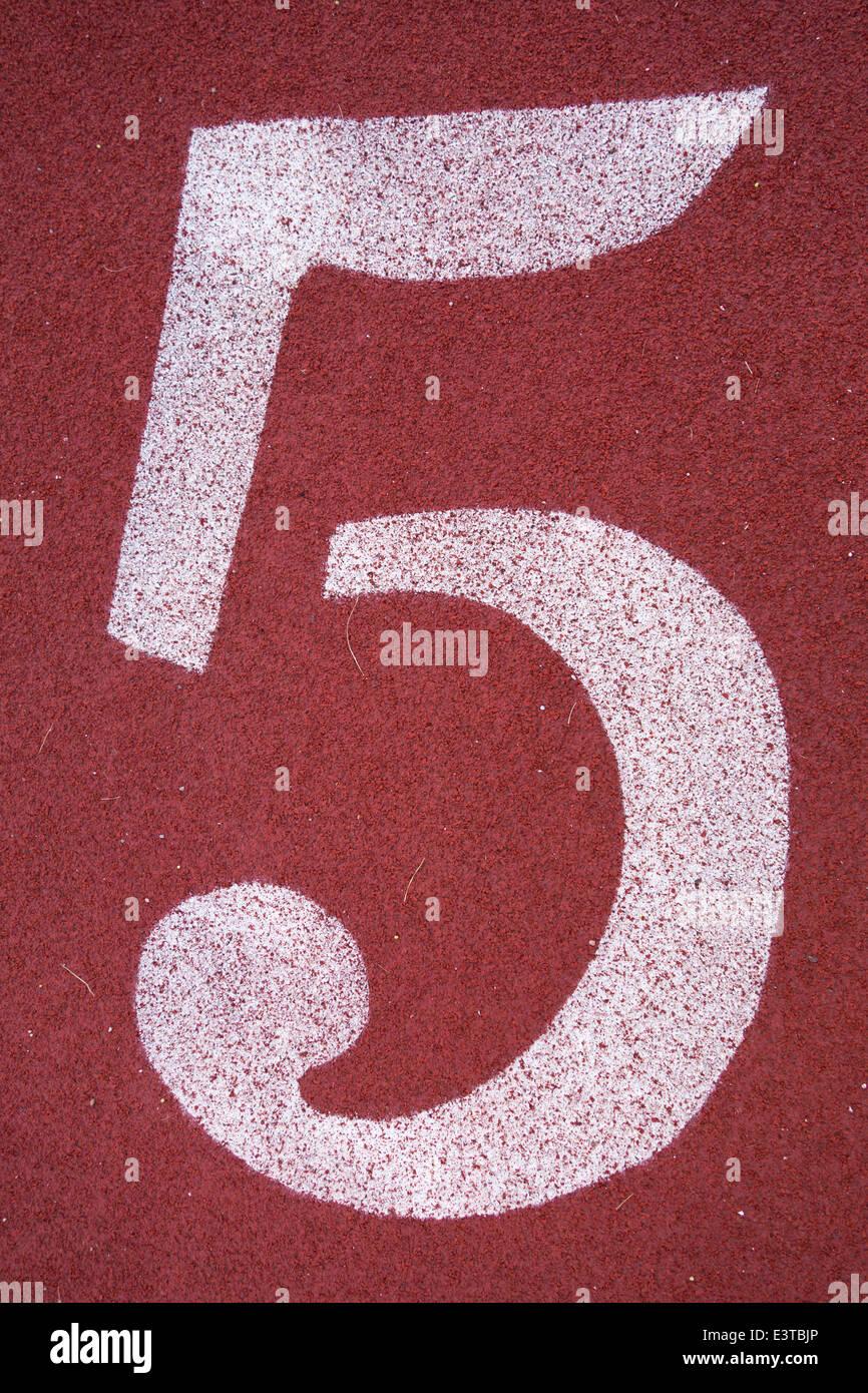 Number five 5, on a running track - Stock Image