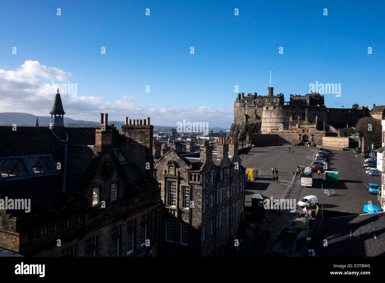 Edinburgh's Castle view from Camera Obscura building - Stock Image