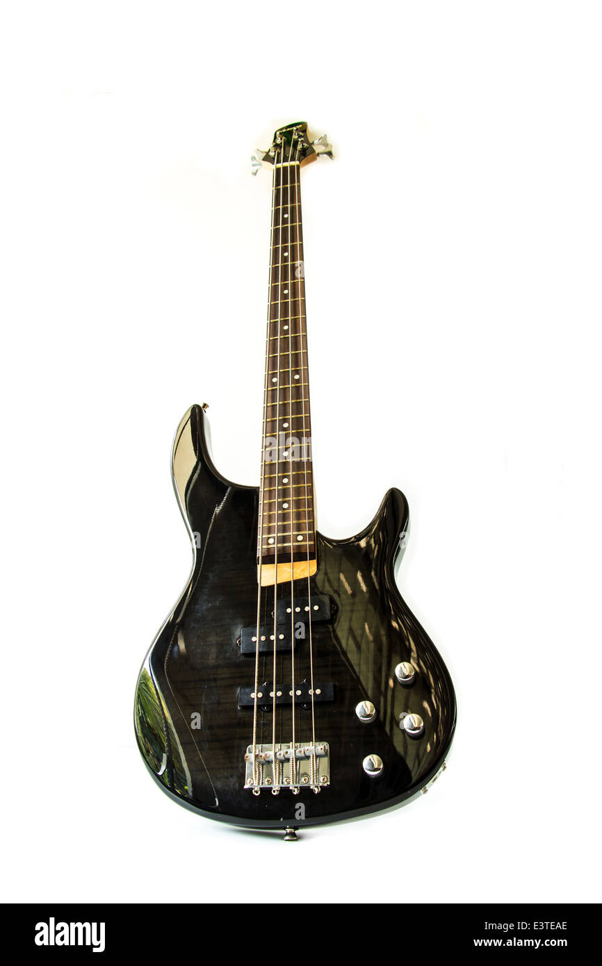 Electric guitar isolated over white background - Stock Image