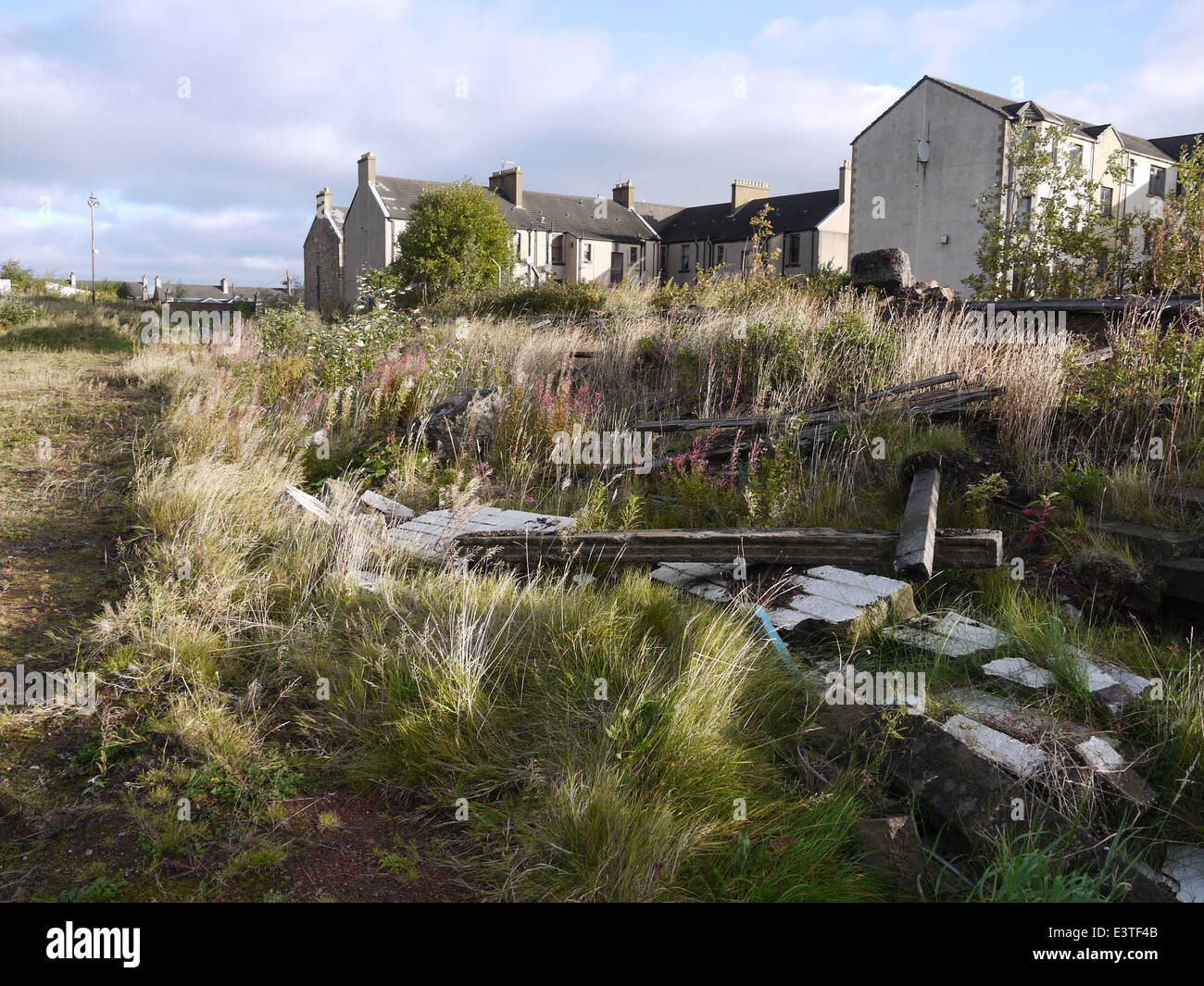 All That is Left At Firs Park. Falkirk. Former home of East Stirlingshire FC  View is towards the only entrance. - Stock Image