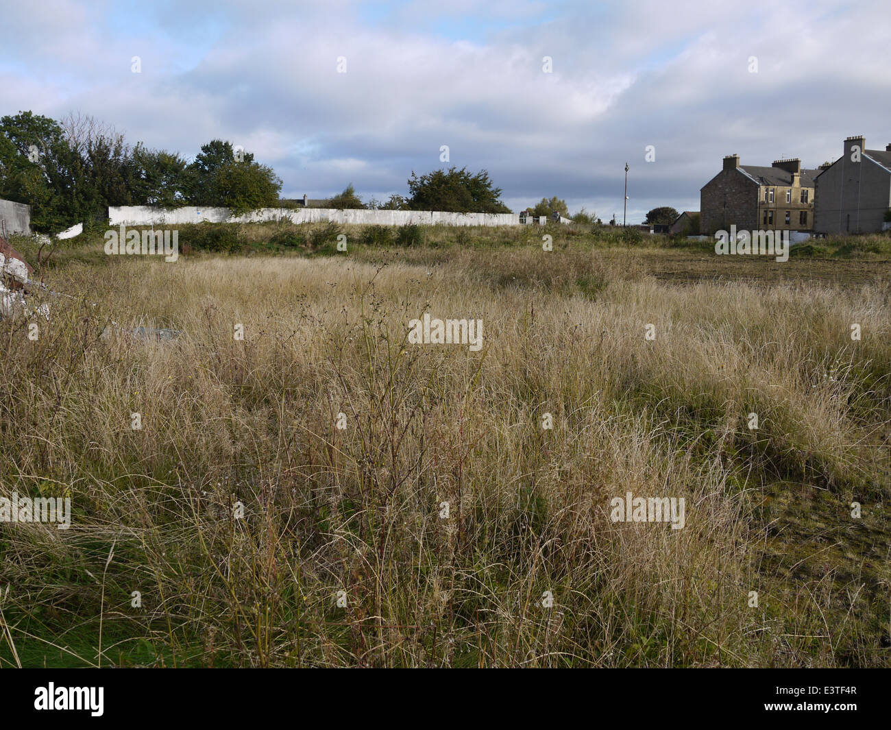 All That is Left At Firs Park. Falkirk. Former home of East Stirlingshire FC  View is overlooking the pitch area. - Stock Image