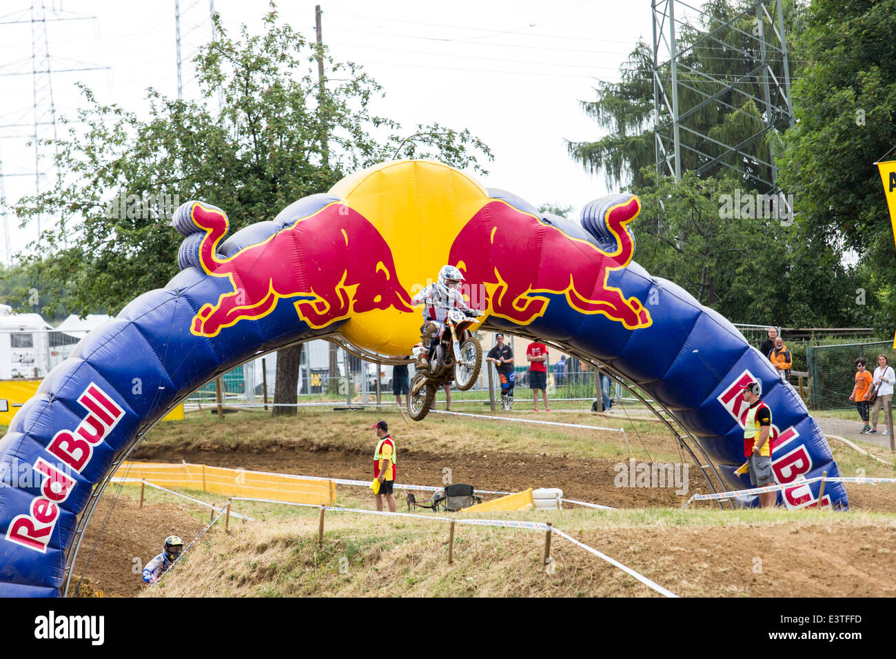 Aichwald, Germany. 27th June, 2014. Motocross ADAC MX Masters 2014 with ' RED BULL' sponsor. Motocross rider - Stock Image