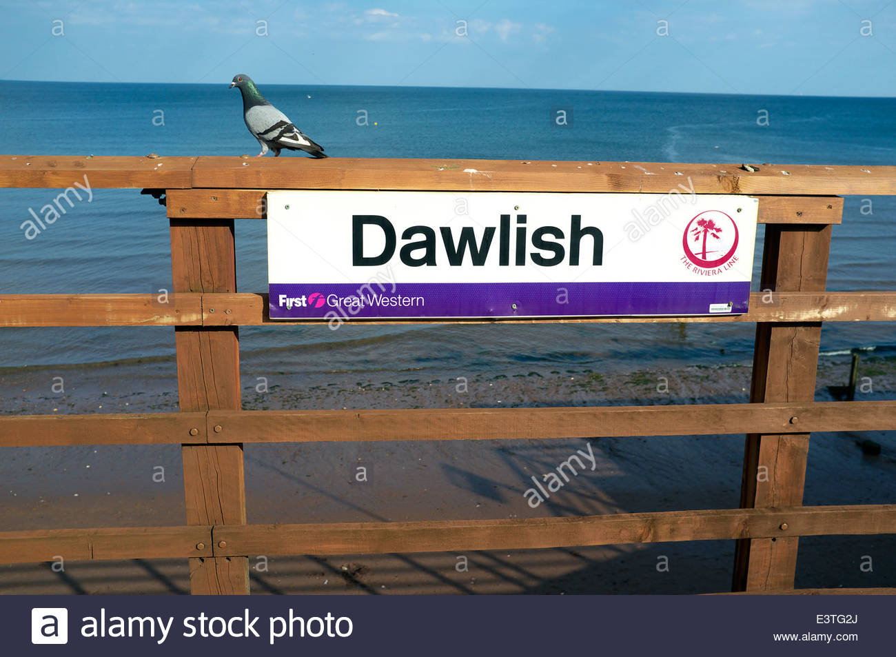 Dawlish - railway station location sign, on the seawall route in south Devon, UK. - Stock Image
