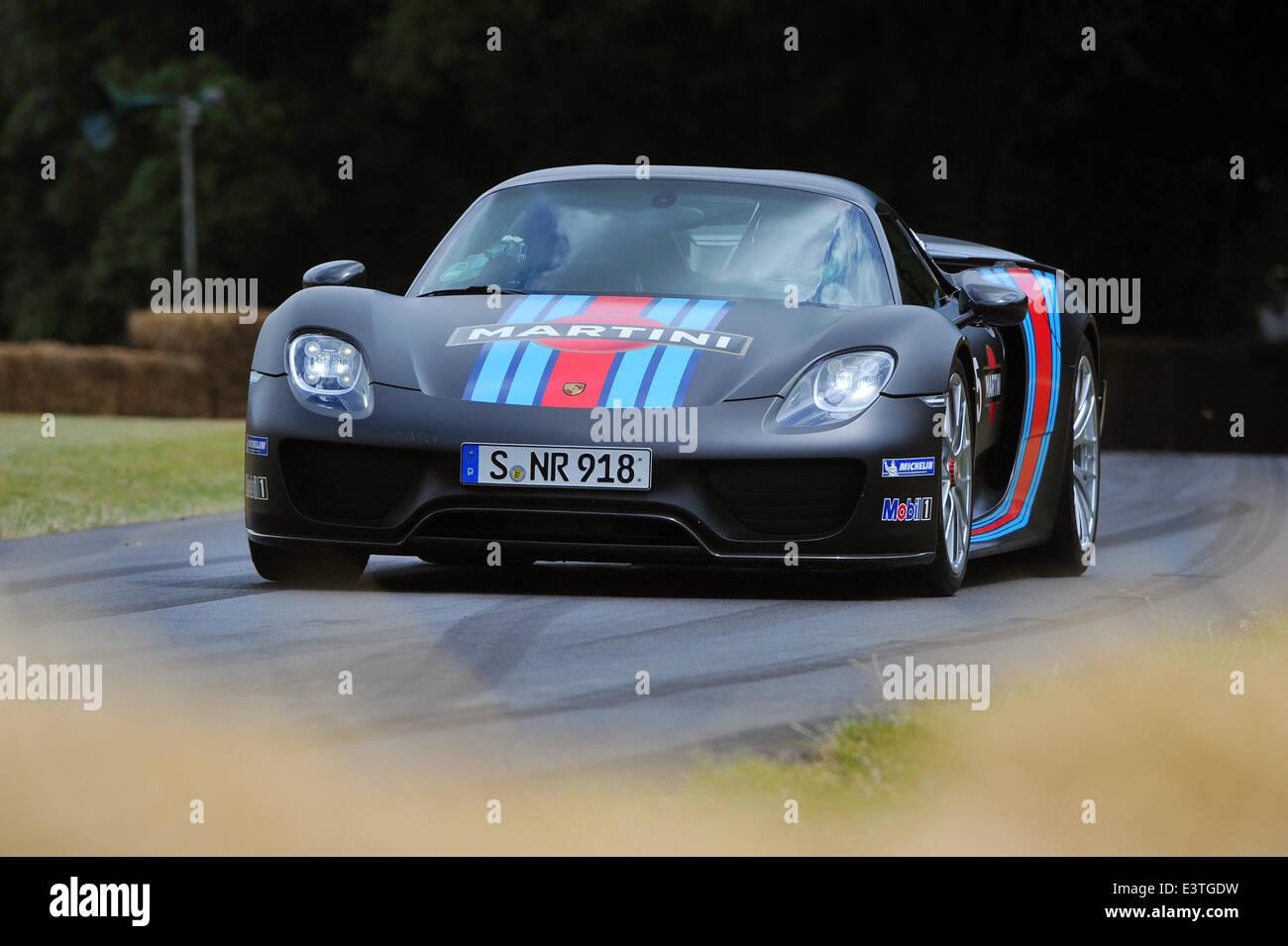 Goodwood UK 28th June 2014 Porsche 918 Spyder Weissach Package With A