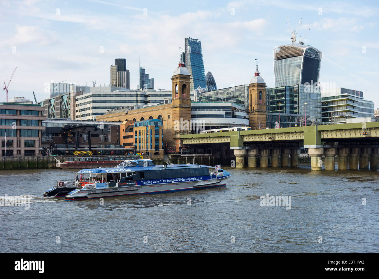 River Thames The City Cannon Street Station River Tour London - Stock Image