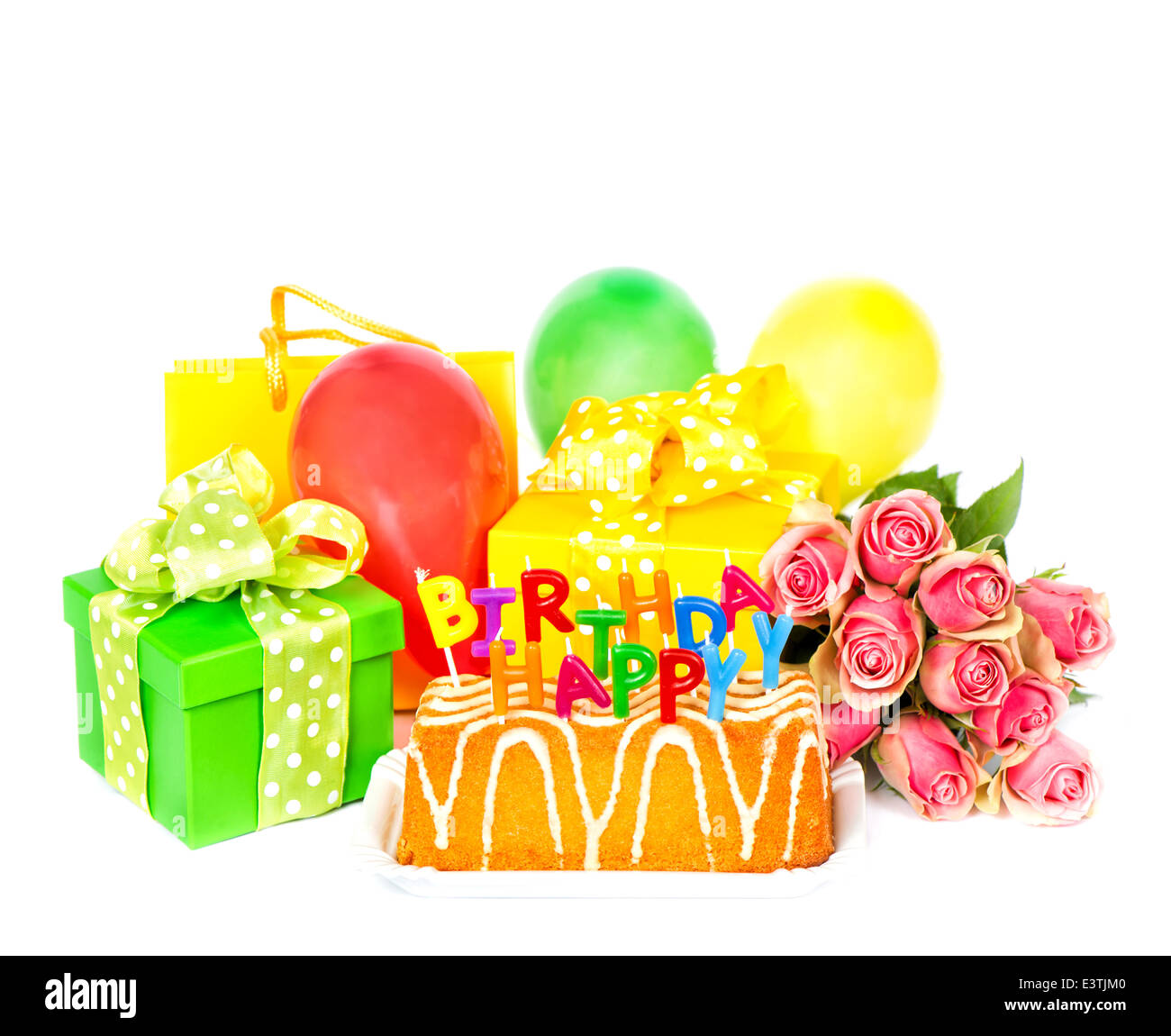 Birthday Party Decoration With Rose Flowers Cake Balloons Gifts And Candles Greetings